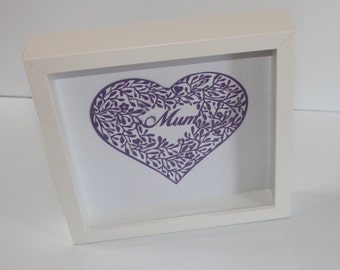 Mother's Day Paper Cut Framed - Home Decor - Wall Decor - Mother's Day Gift - Paper Cutting