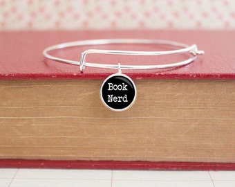 Book Nerd Charm Bracelet - Reader - Silver Bangle - Book Jewelry - Literary - Black - Charm Bracelet (S3304)