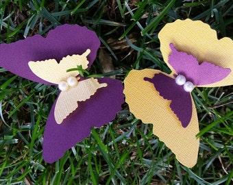 Dark plum/Mustard  Layered Butterflies Wedding Table Decoration