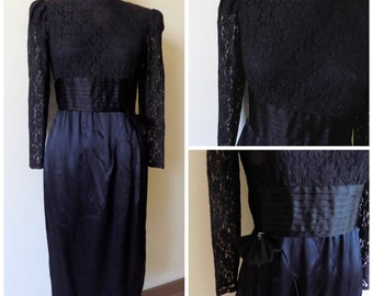 70s Black Cocktail Dress, Black Lace Dress, 70s Does 40s, Leslie Fay Collections, Wiggle Dress, Evening Wear, Size 10, Womens Vintage