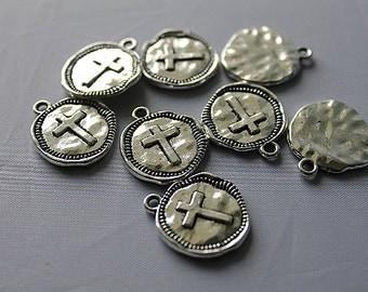 Cross Charm , Round Cross Charm, Silver Cross, 22X19mm, 10pcs