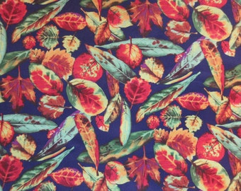 Fall Leaves Fabric - Falls Favorite Colors - Alexander Henry 1998 - OOP - Quilters Cotton -  Price per Yard