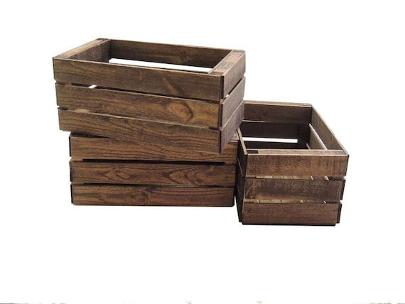 3 small wooden crates fully assembled and dyed dark brown for Craft crates