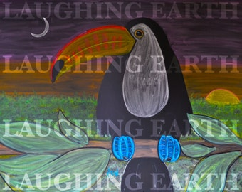 Original Toucan drawing done in colored chalk
