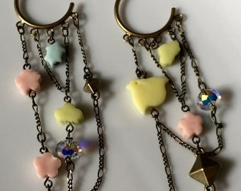 Metal chain earrings inspired by traditional Japanese sweets #2