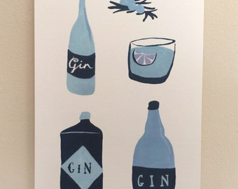 A4 Giclee Print 'Gin O'clock' Illustration - Signed and Editioned