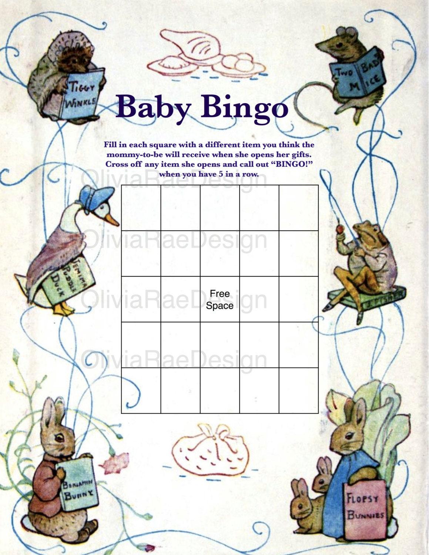 beatrix potter peter rabbit baby shower bingo zoom