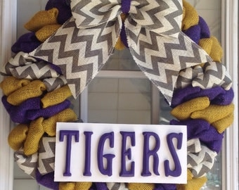 Burlap wreath - LSU Wreath - LSU Tigers - LSU Decor - Louisiana State University - Door Wreath - Fall Wreath - Summer Wreath for door