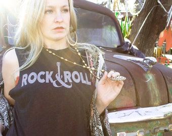 """Womens """"Rock n Roll"""" Muscle Tank Top with Guitar Graphic"""