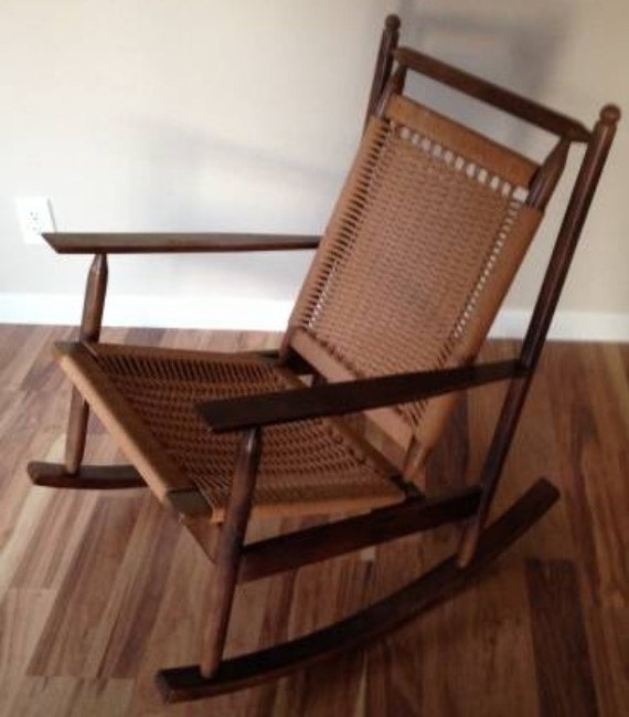 Vintage MCM Hans Wegner Inspired Rocking Chair by GrabASeat