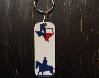 Cowboy Horse Texas Metal Key Chain Made from Recycled TX License Plates with Keyring