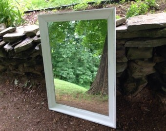 Oversized White Distressed Mirror