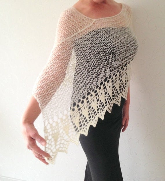 Loose Knit Shawl Pattern : Wedding shawl ivory poncho knit poncho merino poncho by Mrlworks