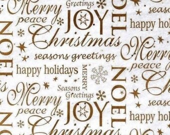 """Noel Christmas Tissue Paper # 859 - Gold Letters, Gold Sparkles - 10 large sheets ...20"""" x 30"""""""