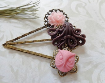 Set of 3, Chocolate Octo And Dusty Rose Owl Hair Clips