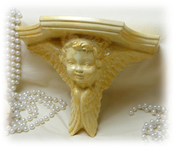 VINTAGE ANGEL SHELF . . . ceramic & plaster