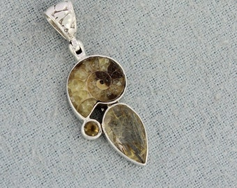 Natural Fossil Ammonite, Yellow Rutile, Smoky Quartz Gemstone 925 Sterling Silver Pendant, ,Handmade Wedding Gift Jewelry