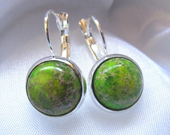 925 Sterling Silver Leverback Natural Gemstone Cabochon Earrings - Imperial Jasper