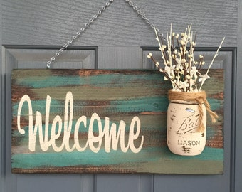 Mason jar welcome sign distressed welcome sign for Outdoor decorative signs