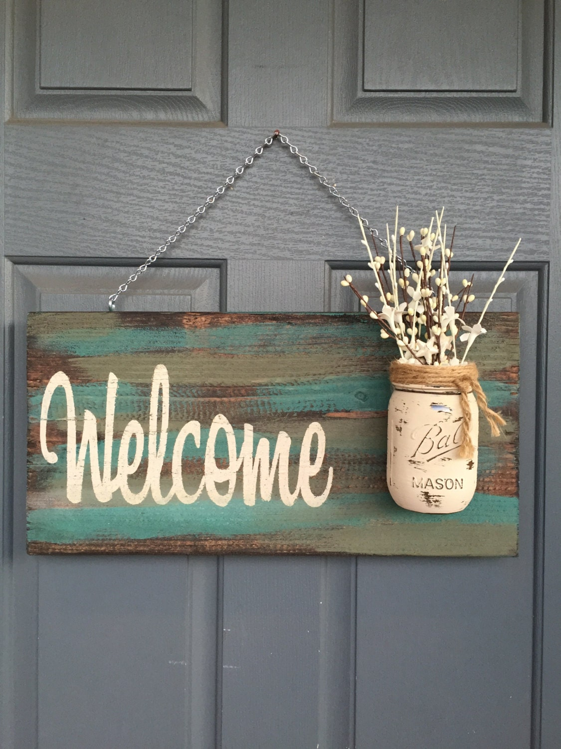Rustic blue green welcome outdoor decor signs home by for Welcome home decorations