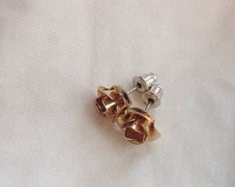 Golden Roses Stud Earrings
