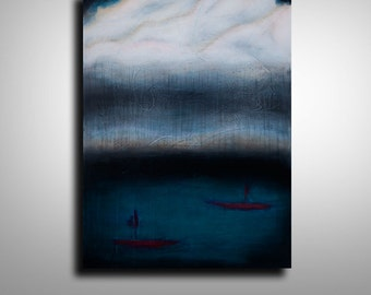 ORIGINAL Modern Art Abstract Painting Wall Decor Mixed Media Acrylic Watercolour Sailboat Painting