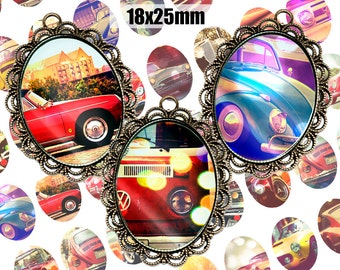Digital Collage Sheet Retro Cars 18x25mm Printable Oval Download for pendants magnets Cabochons jewelry