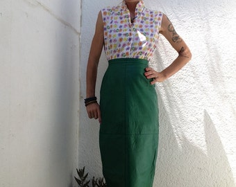 Green leather pencil skirt high waist vintage 80s
