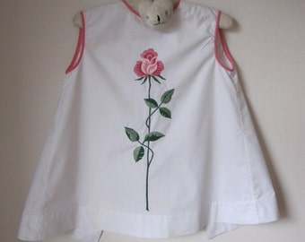 1960s C. K. Tang Child's Dress with Rose Embroidery