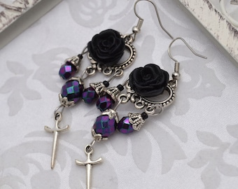 Vampiress - Silver and Purple Gothic Chandelier Earrings - VAMPE - Free US Shipping