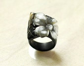 Flower engagement ring Jasmine ring Art Nouveau ring Hand carved bone ring Artisan black horn ring Unusual gift for her Boho Bridesmaid ring