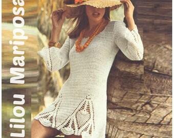 CROCHET DRESS PATTERN Vintage 70s Crochet Pineapple Dress Pattern Bohemian Clothing Instant Download
