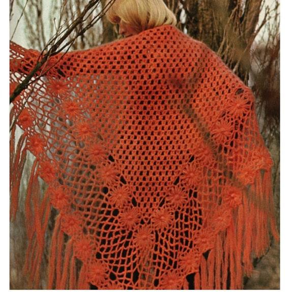 Crochet Patterns For Shawls Vintage : Crochet Shawl Pattern Vintage 70s Crochet Poncho Pattern