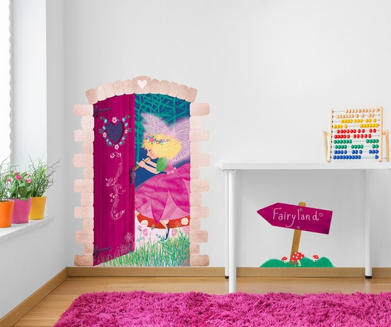 Fairy land door decal wall sticker ilustrated girls bedroom for C meo bedroom wall dress
