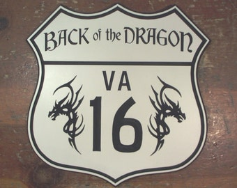 Back of the Dragon route 16 engraved road sign hanging man cave garage motorcycle