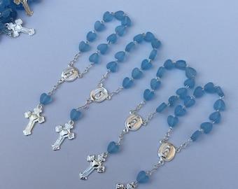 24 Mini rosaries- boys Baptism favors - first communion mini rosaries- baptism favors-Christening Baptism boy favors