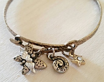 Free shipping within USA * Gorgeous Copper Butterfly Shell CZ Star Dream Bangle Charm Bracele