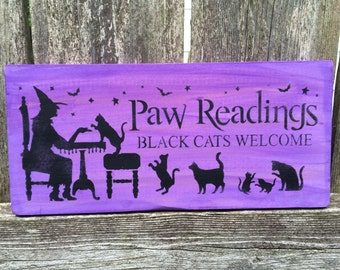 Paw Readings: Black Cats Welcome Sign (Purple)