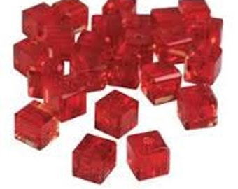 Glass Cubes - 2 Sizes - Deep Red
