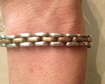 Vintage Sterling Silver Bracelet Taxco Laton Gold Mexican 925 TB-15 30 grams