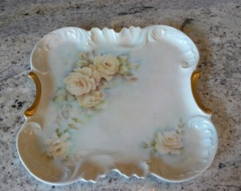 Porcelain tray with hand painted roses