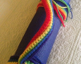 Rainbow Colored, Yoga,  Carrying Strap, hippy, love, bohemian, pride