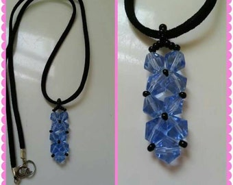 Blue/black beaded necklace