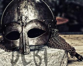 Viking Helmet wall art, High Quality artistic Viking helmet print Instant download ,Viking Print, UK Seller