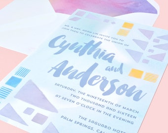 Pastel Watercolor Wedding Invitation - FREE SHIPPING - Cynthia Collection
