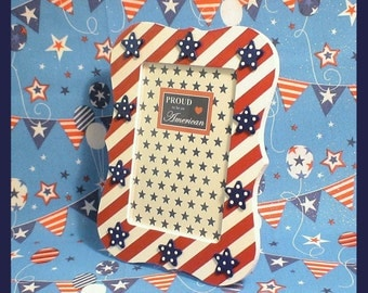"Patriotic Picture Frame - Fourth of July Hand-painted Frame - Red White and Blue 4 x 6 Frame - ""Grand Old Flag"""