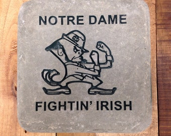Notre Dame Garden Stone, hand cut and painted, Pennsylvania stone weighs about 22 pounds