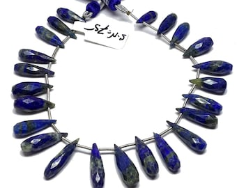 "8% off sale Beautiful Lapis lazuli Faceted Elongated tear drop Shape Briolettes-Royal blue flat briolette-Lapis Lazuli 16-20.5 M.M 8"" strand"