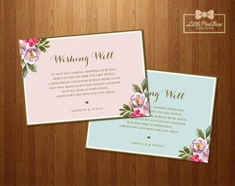 Wishing Well, Pink Mint Floral Wishing Well Card Printable, Floral Corners Wedding Wishing Well Card Printable