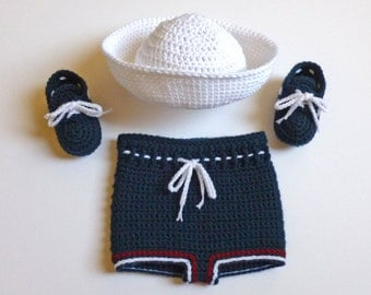 Baby Boy, Handmade, Crochet, Navy Blue Diaper Cover,Sailor Hat, and Deck Shoes Set; Special Order
